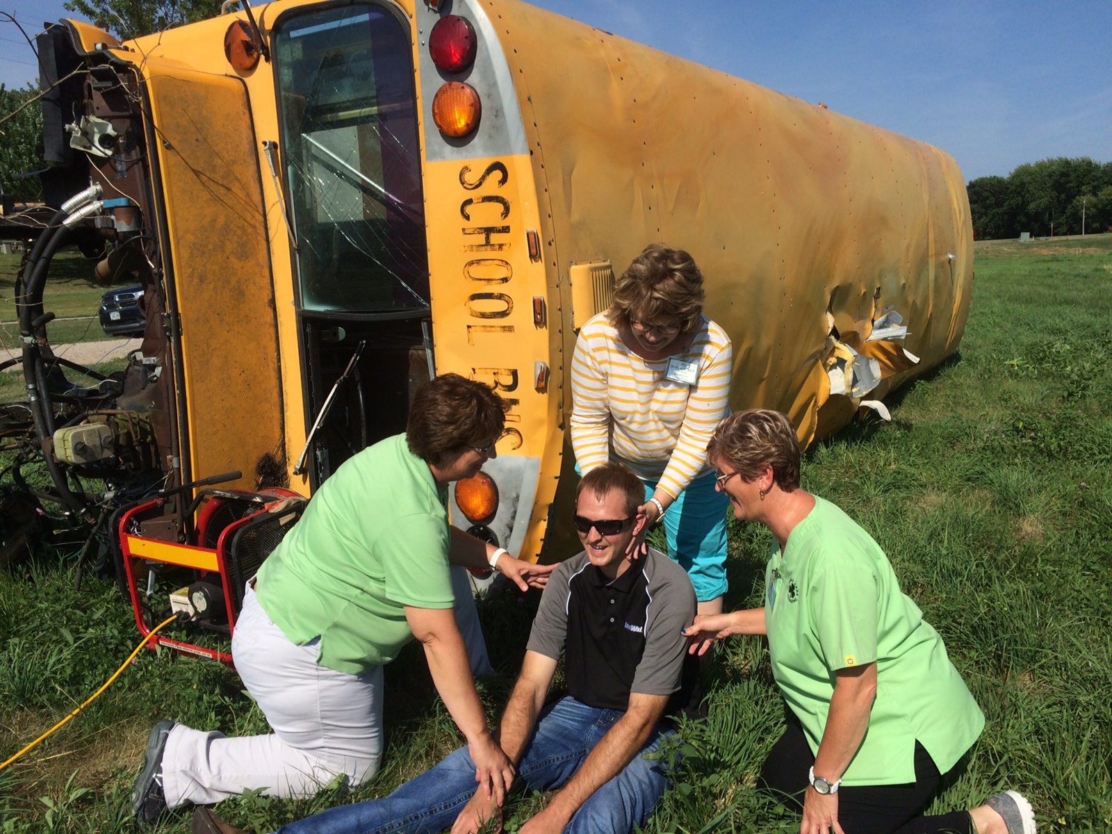 Carroll Area Nursing Service employees at bus rollover accident training