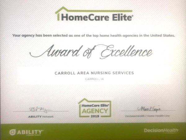Carroll Area Nursing Service Named as a 2019 HomeCare Elite Agency